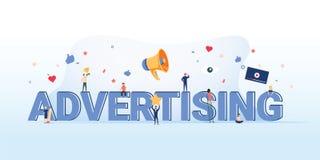 Ejemplo del concepto de la publicidad Idea de la promoción y del márketing Fondo en línea del márketing de negocio del anuncio ilustración del vector