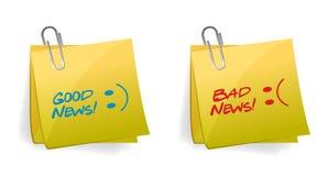 Ejemplo del concepto de las buenas y malas noticias Imagenes de archivo