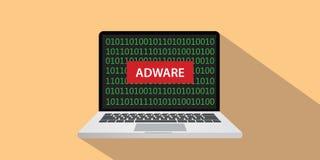 Ejemplo del concepto del adware con el texto en la pantalla del ordenador portátil con estilo plano y el binario Fotografía de archivo libre de regalías