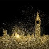 Ejemplo del concepto del arte del brillo del oro del horizonte de la ciudad libre illustration