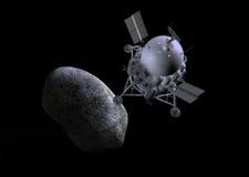 Ejemplo del concepto del cometa del aterrizaje de la misión de la nave espacial Foto de archivo