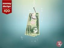 Ejemplo del concepto del dinero, documento del dinero del dinar iraquí sobre el gancho de pescados stock de ilustración