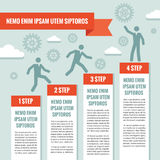 Ejemplo del concepto del negocio de Infographic Hombres de negocios, pasos, engranajes, nubes y bandera de la papiroflexia Fotos de archivo