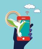 Ejemplo del concepto del negocio del dispositivo del teléfono móvil hummingbird Imagen de archivo libre de regalías