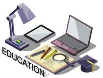 Ejemplo del concepto en línea gráfico de la educación de la información Imágenes de archivo libres de regalías