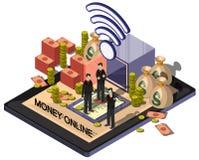 Ejemplo del concepto en línea gráfico del dinero de la información Imágenes de archivo libres de regalías