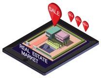Ejemplo del concepto en línea gráfico del mercado inmobiliario de la información Fotos de archivo libres de regalías