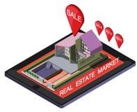 Ejemplo del concepto en línea gráfico del mercado inmobiliario de la información Imágenes de archivo libres de regalías