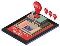 Ejemplo del concepto en línea gráfico del mercado inmobiliario de la información Foto de archivo