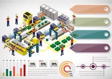 Ejemplo del concepto gráfico del equipo de la fábrica de la información Foto de archivo
