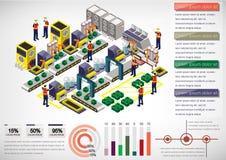 Ejemplo del concepto gráfico del equipo de la fábrica de la información Fotos de archivo libres de regalías