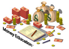 Ejemplo del concepto gráfico del equipo del dinero de la información Foto de archivo