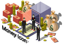 Ejemplo del concepto gráfico del equipo del dinero de la información Imagen de archivo libre de regalías