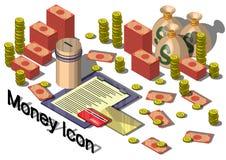 Ejemplo del concepto gráfico del equipo del dinero de la información Imagenes de archivo