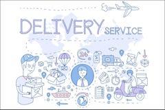 Ejemplo del concepto del servicio de entrega Iconos en estilo linear Muchacho de entrega y encargado, transporte, pago con las ta Imagen de archivo