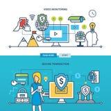 Ejemplo del concepto - tecnología, negocio, supervisión video y transacción segura Fotografía de archivo