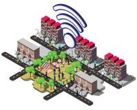 Ejemplo del concepto urbano gráfico del wifi de la información Fotografía de archivo
