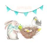 Ejemplo del conejo de Pascua de la acuarela, del pájaro, de la jerarquía con los huevos y de la guirnalda festiva con las bandera stock de ilustración