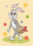 Ejemplo del conejo de pascua que cuida una cesta en backgro del vintage Imagenes de archivo