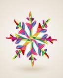 Ejemplo del copo de nieve de los multicolors de la Feliz Navidad Foto de archivo libre de regalías