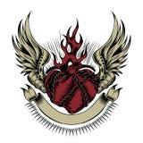 Ejemplo del corazón con las alas Fotografía de archivo libre de regalías