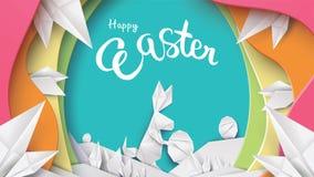ejemplo del corte del papel 3d del conejo de pascua, de la hierba, de flores y de la forma coloridos del huevo Plantilla feliz de ilustración del vector