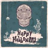 Ejemplo del cráneo de Halloween del vintage del vector stock de ilustración