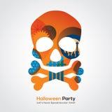 Ejemplo del cráneo del partido de Halloween para el cartel de la tarjeta de la invitación stock de ilustración