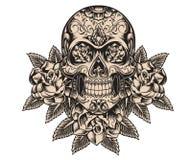 Ejemplo del cráneo y de las rosas Fotografía de archivo