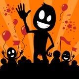 Ejemplo del día de fiesta con la gente de la historieta Imagen de archivo libre de regalías