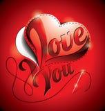 Ejemplo del día de tarjetas del día de San Valentín con te amo título y hea de costura Imagen de archivo
