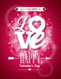 Ejemplo del día de tarjetas del día de San Valentín del vector con diseño de la tipografía del amor en fondo brillante Imagenes de archivo