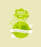 Ejemplo del día del ambiente mundial Tierra verde de Eco Ilustración del vector Fotos de archivo