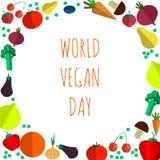 Ejemplo del día del vegano del mundo - vector alrededor de símbolo del vegano o del vegetariano Foto de archivo