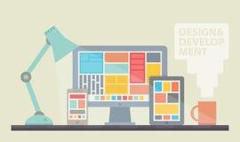 Ejemplo del desarrollo del diseño web ilustración del vector