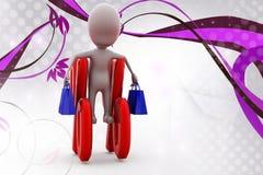 ejemplo del descuento de las compras del hombre 3d Imagen de archivo libre de regalías