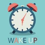 Ejemplo del despertador en diseño plano con el texto Imagenes de archivo