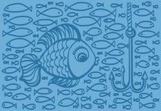 Ejemplo del dibujo de la historieta de pescados grandes con el pequeño backg de los pescados Fotos de archivo
