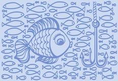 Ejemplo del dibujo de la historieta de pescados grandes con los pequeños pescados Fotografía de archivo