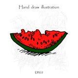 Ejemplo del dibujo de la mano de la sandía Fotografía de archivo libre de regalías