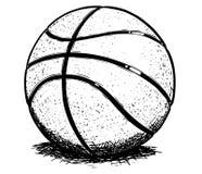 Ejemplo del dibujo de la mano del vector de la bola del baloncesto fotografía de archivo