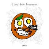 Ejemplo del dibujo de tocino del desayuno y de la mano de los huevos Imágenes de archivo libres de regalías