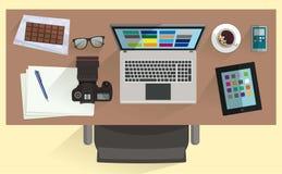 Ejemplo del diseñador del lugar de trabajo Imágenes de archivo libres de regalías