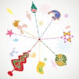 Ejemplo del diseño de la decoración de la Navidad Foto de archivo libre de regalías