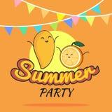 Ejemplo del diseño de la historieta del cartel del partido del verano con el mango lindo y los caracteres anaranjados, la postal  Foto de archivo