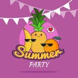 Ejemplo del diseño de la historieta del cartel del partido del verano con el plátano lindo, piña, caracteres anaranjados, forma d Fotos de archivo libres de regalías