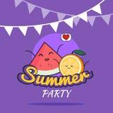 Ejemplo del diseño de la historieta del cartel del partido del verano con los caracteres lindos de la naranja y de la sandía, la  Fotos de archivo libres de regalías