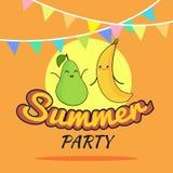 Ejemplo del diseño de la historieta del cartel del partido del verano con los caracteres lindos de la pera y del plátano, la post Imagen de archivo libre de regalías