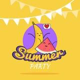 Ejemplo del diseño de la historieta del cartel del partido del verano con los caracteres lindos del plátano y de la sandía, la po Imagen de archivo libre de regalías