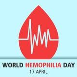 Ejemplo 03 del diseño de la historieta del día de la hemofilia del mundo ilustración del vector